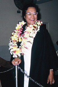 Aunty Sally Wood . . . during the August 1966 mainland promo; submitted by original PCC employee Stan Natividad, now of Mesa, Arizona