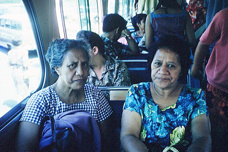 """Mom"" Christina Nauahi (left) and _____, on the bus, August 1966 mainland promo; submitted by original PCC employee Stan Natividad, now of Mesa, Arizona"