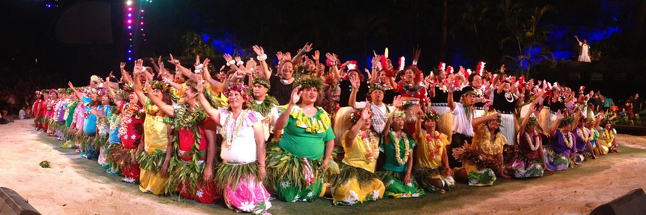 """The finale of the PCC """"gold"""" alumni show; Polynesian Cultural Center photo by Mike Foley"""